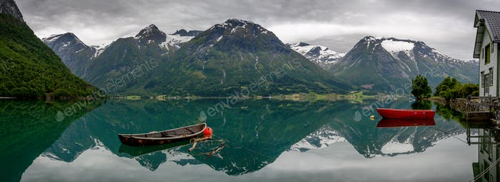 Panorama of the mountain reflection at Hjelle