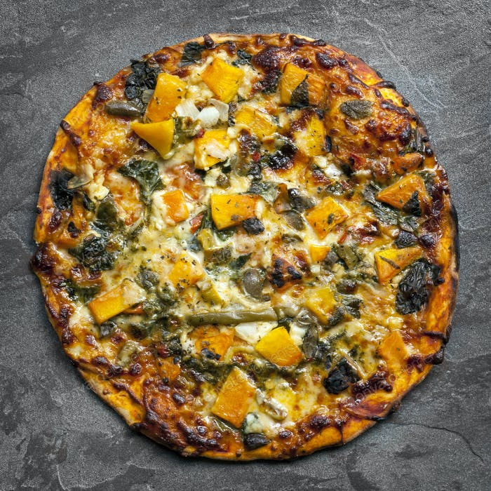 Vegetarian Pizza Top View on Slate