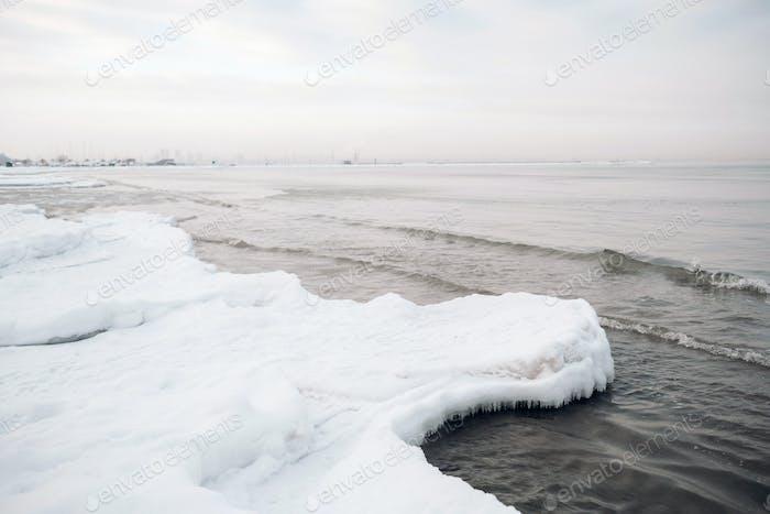 The winter promenade of the Baltic sea near Tallinn. Winter near the Baltic States on the seashore