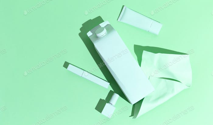 Plastik life concept art. Planet save idea.  Minimal still life art