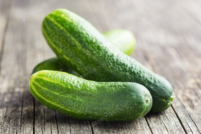 Fresh green cucumbers.
