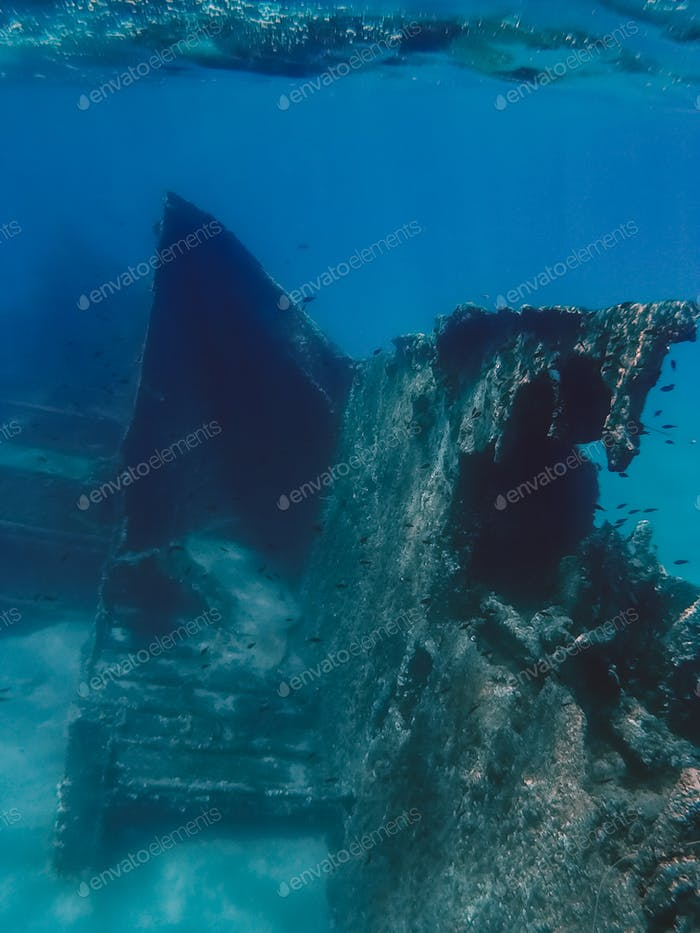 wreck of a ship submerged in the ocean