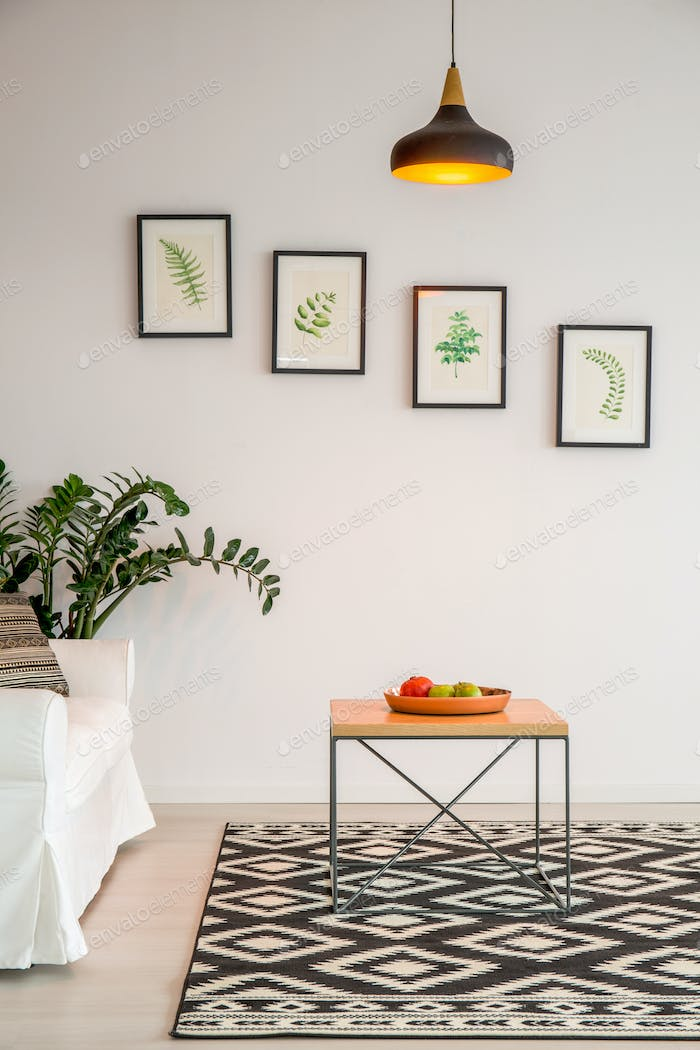 Simple living room with table