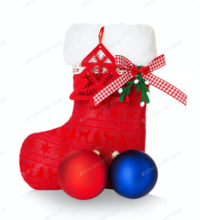 Red Santa's boot isolated on white background.