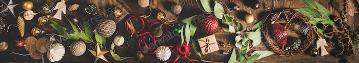 Flach-Lay von Weihnachten, Neujahrsfeiertag Hintergrund, breite Komposition
