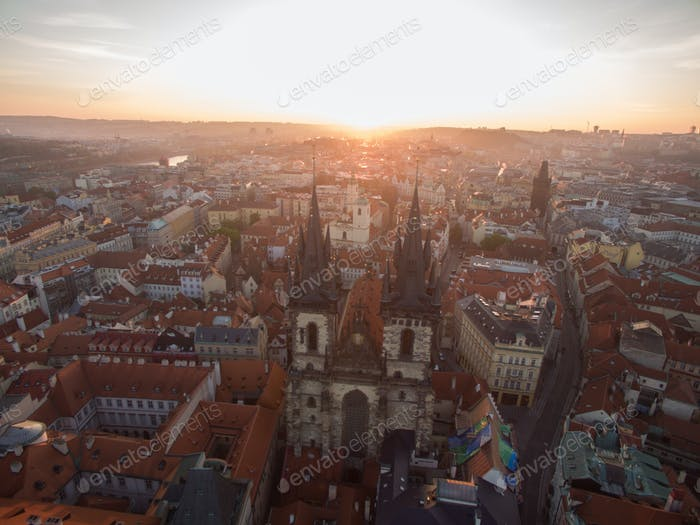 Old Town of Prague with Gothic Church, aerial view