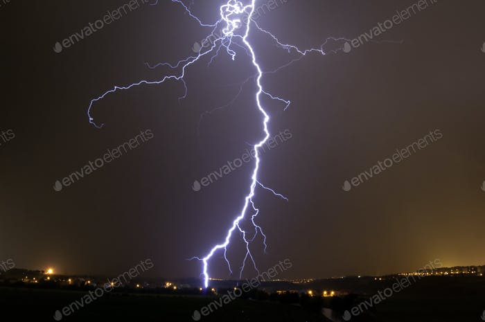 Lightning storm over Prague, Czech republic