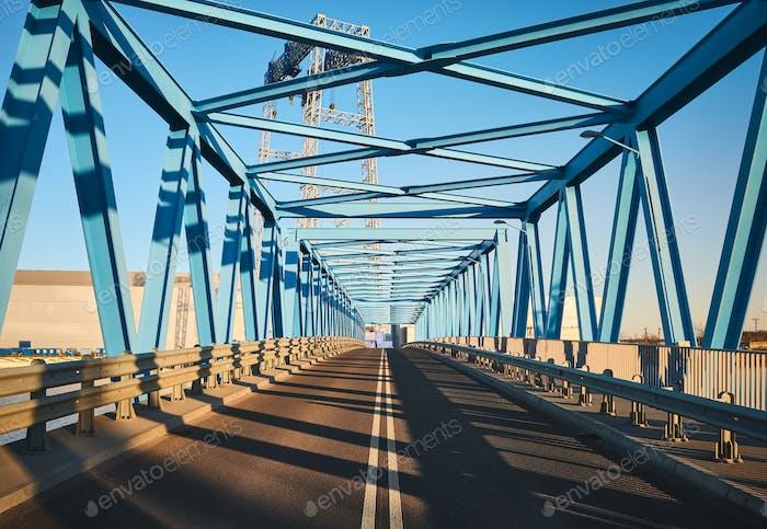Blue bridge at sunset.