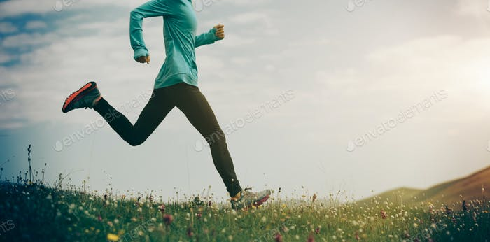 Running in grass and flowers