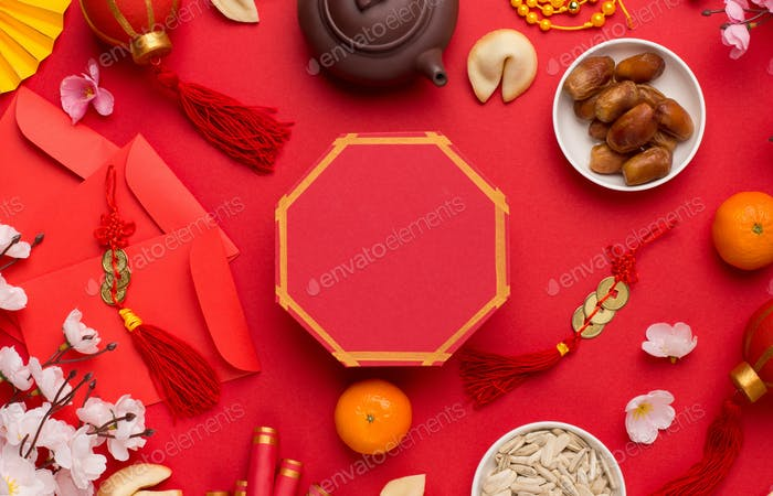 Flat lay east asian culture Chinese new year food and mockup
