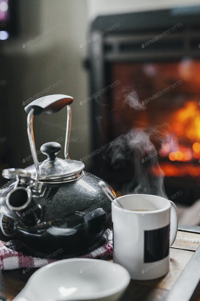 A home hearth, a lit fire and a table with a teapot and coffee