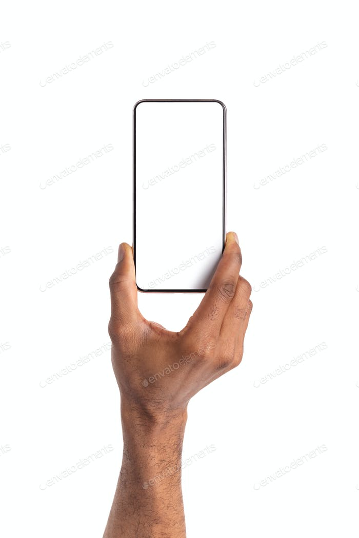 Smartphone with blank screen in black man's hand