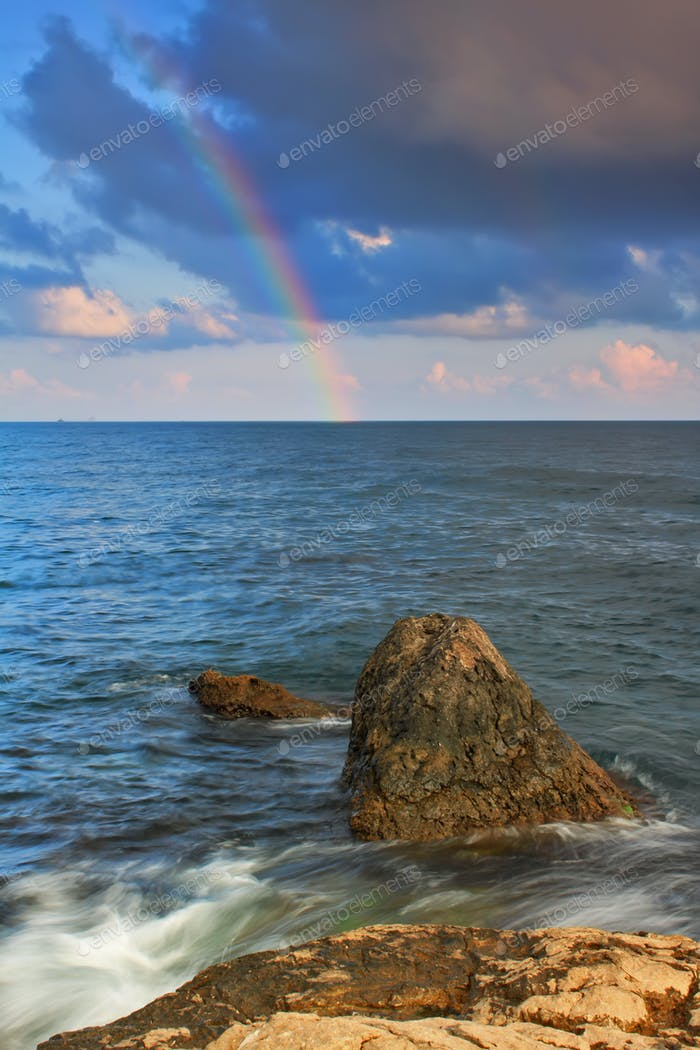Rainbow over the tropical sea