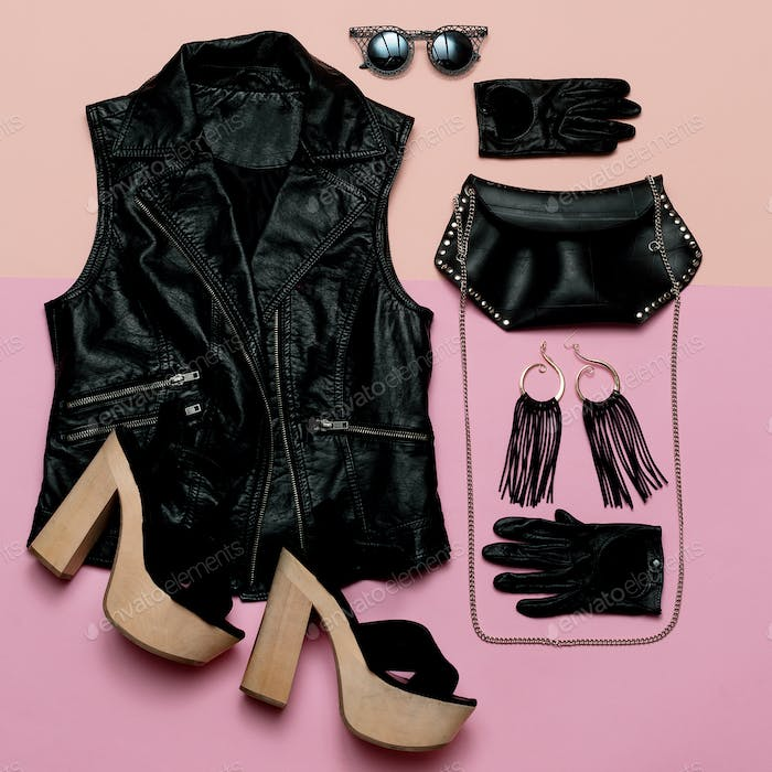 Stylish Lady Outfit rock style Vest and black accessories, fashi