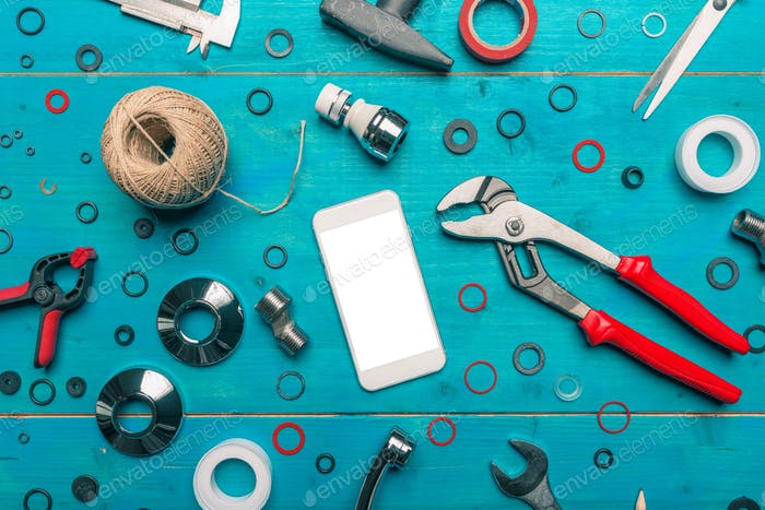 Plumbing DIY tutorial app smartphone mock up