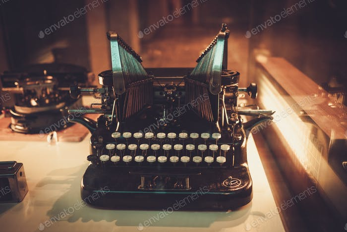 Close up of antique typewriter machine.