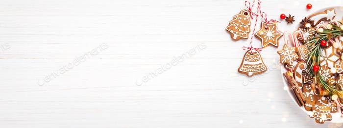 Banner for Website with Plate of Gingerbread on White Table.