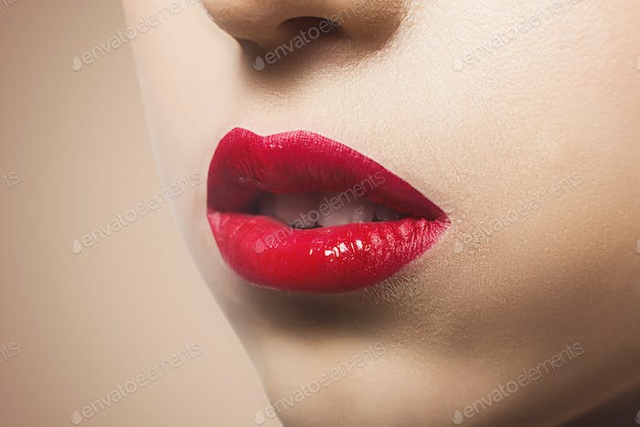 Make-up artist apply lipstick with brush, beauty