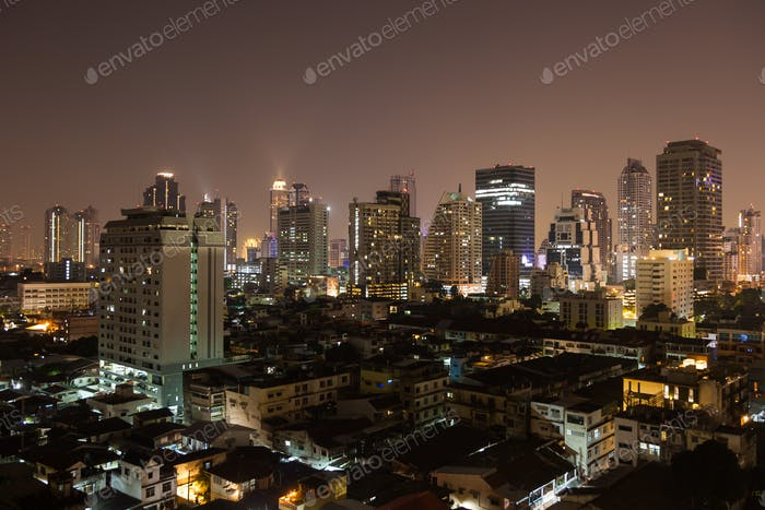 Bangkok aerial skyline view at night in Thailand