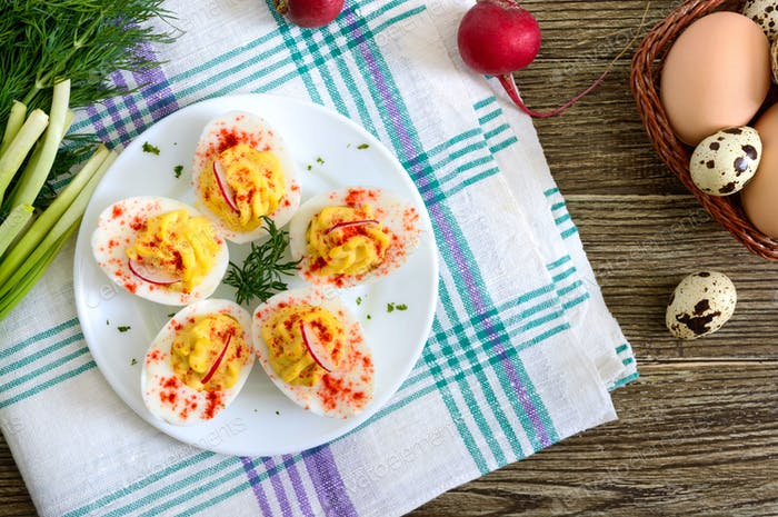 Deviled eggs.Boiled eggs stuffed