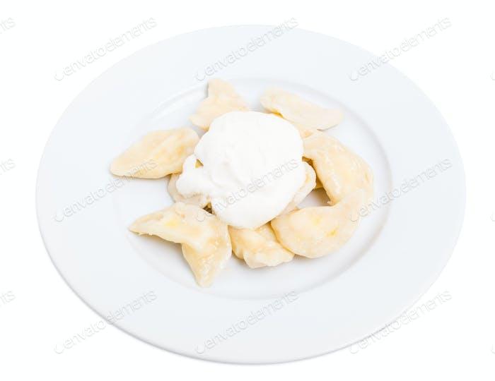 Russian cottage cheese dumplings vareniki.
