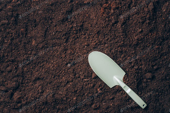 Small shovel with handel over soil background. Agriculture, organic gardening, planting or ecology