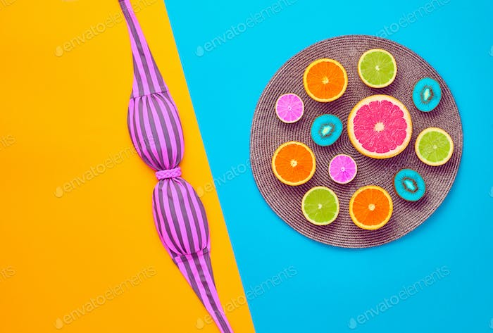 Fashion Helle Sommerfarbe.Tropical Fruit.Minimal