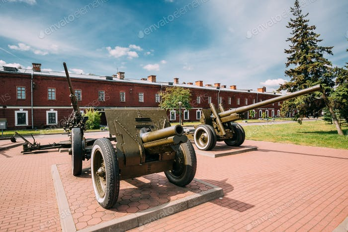 Brest, Belarus. Old Cannons In Memorial Complex Brest Hero Fortr