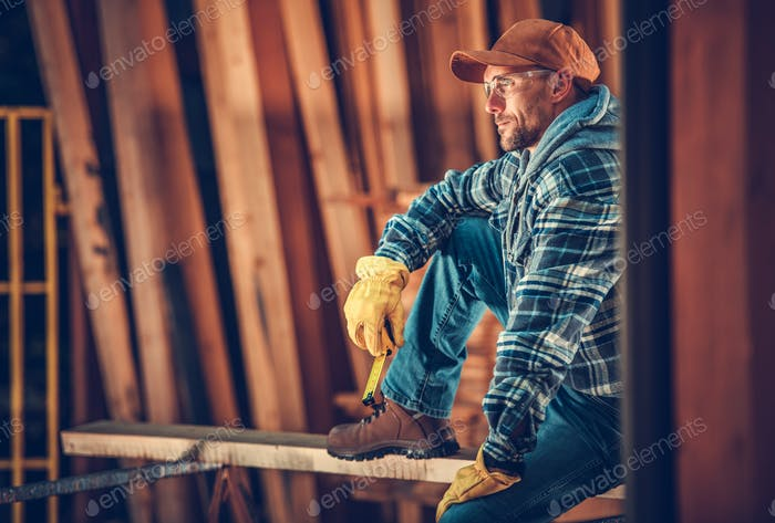 Caucasian Carpenter Portrait