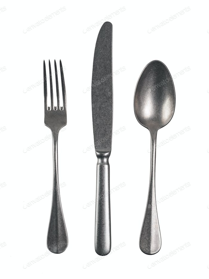 Cutlery set isolated on white background