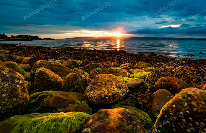 Sunset over the sea in Norway