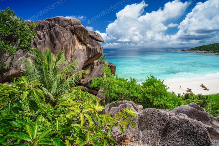 Most spectacular tropical beach Grande Anse on La Digue Island, Seychelles. Holiday vacation