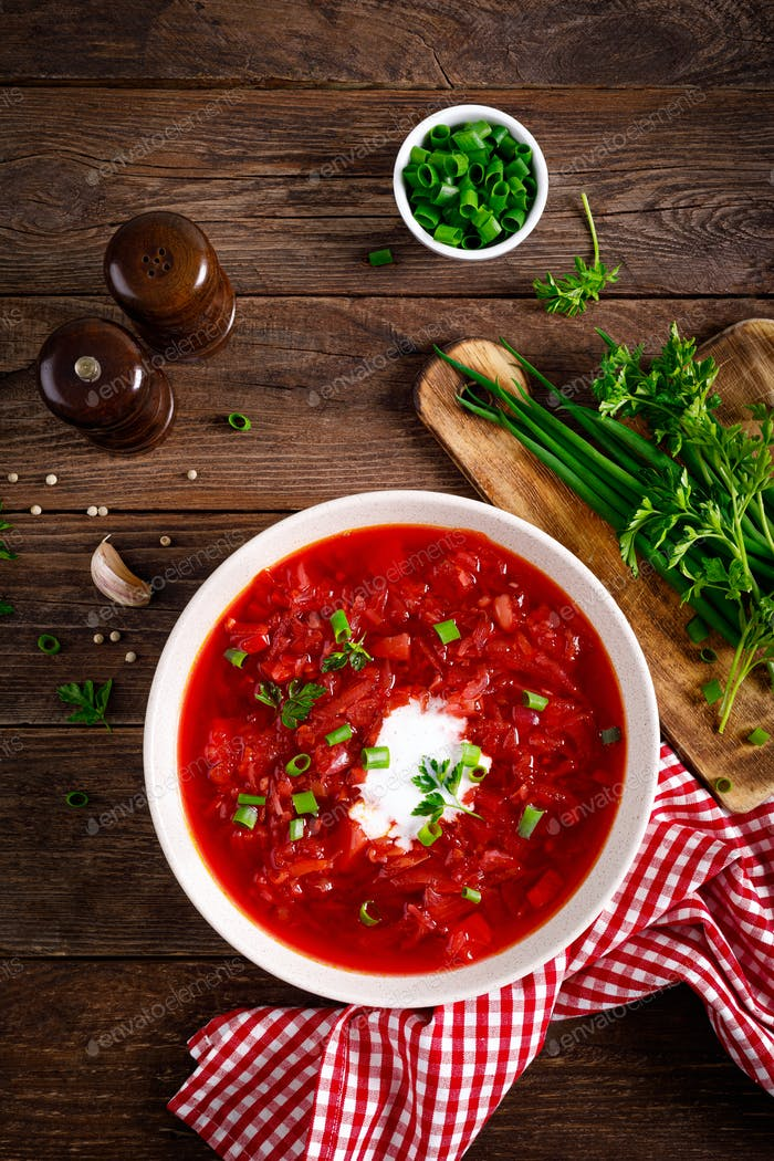 Traditional ukrainian borscht, vegetable soup with beet