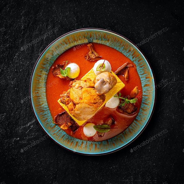 Chicken paprikash with chanterelle