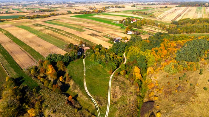 Aerial View over Polish Countryside and Farmland in Swietokrzysk