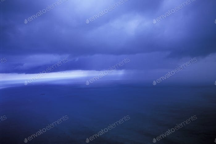 Rainstorm at Sea, view of the water surface and the horizon line.
