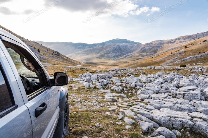 Off road adventure in rural steppe in Bosnia