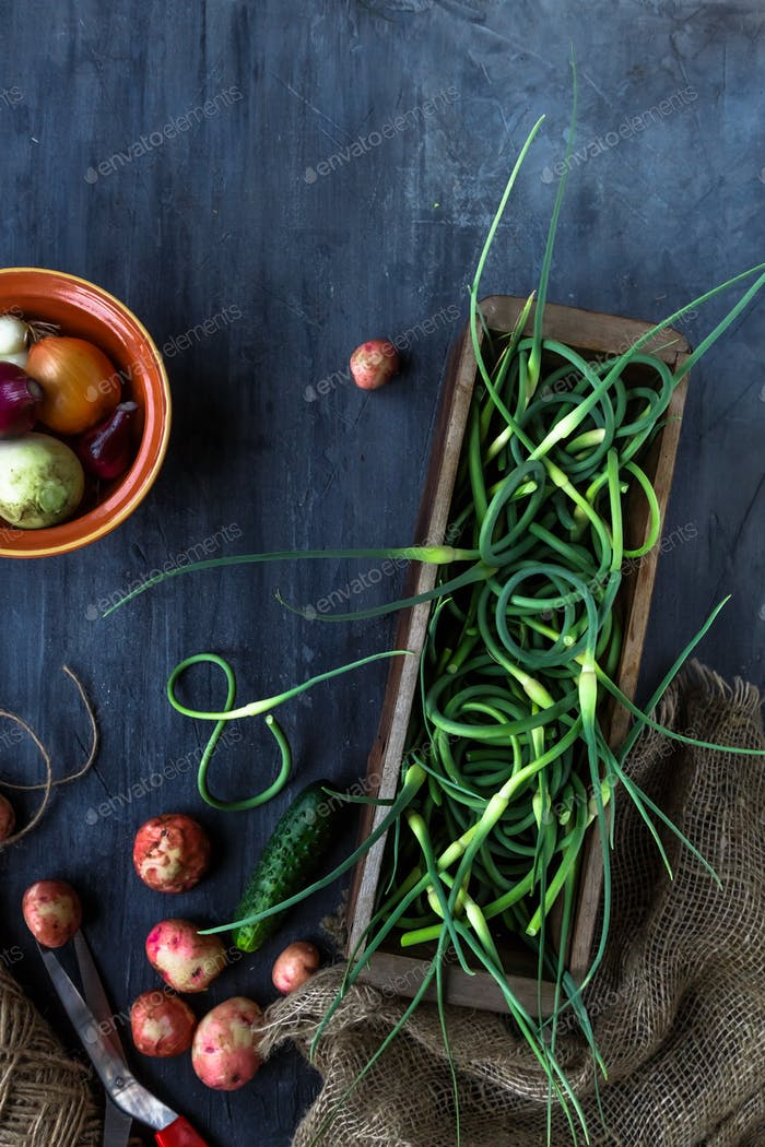 Fresh garlic scapes, potatoes, top view in a box, place for text