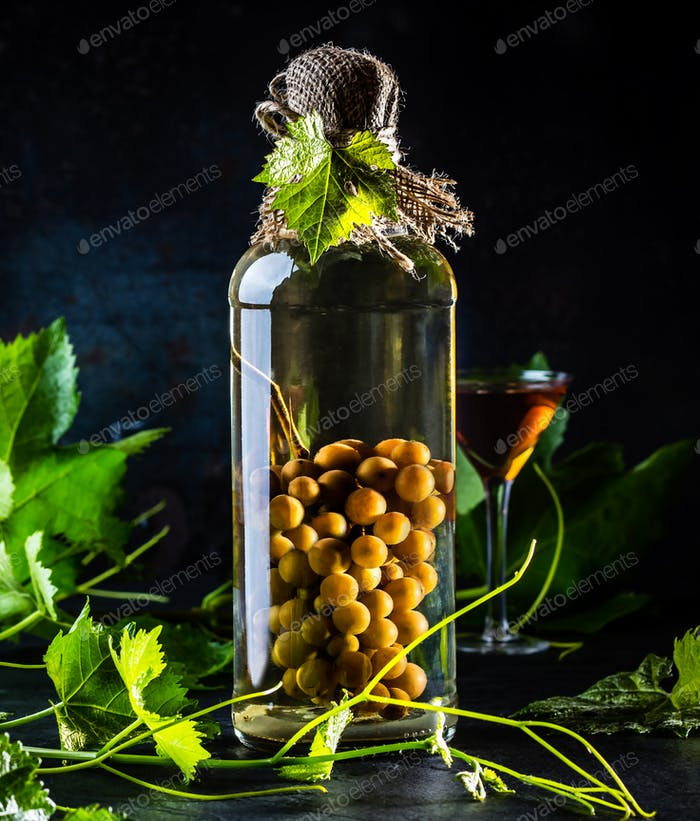 Traditional Chilean grapes brandy with whole grape bunch inside bottle.
