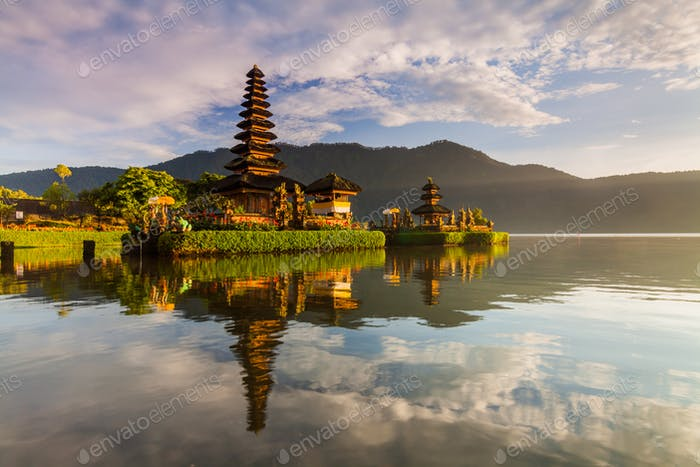 Pura Ulun Danu Bratan temple in Bali island. Hindu temple in flowers on Beratan lake, Asia.