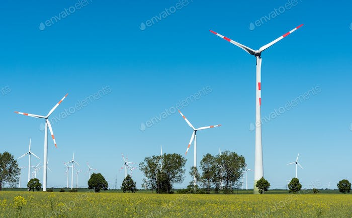 Windwheels in the fields in Germany