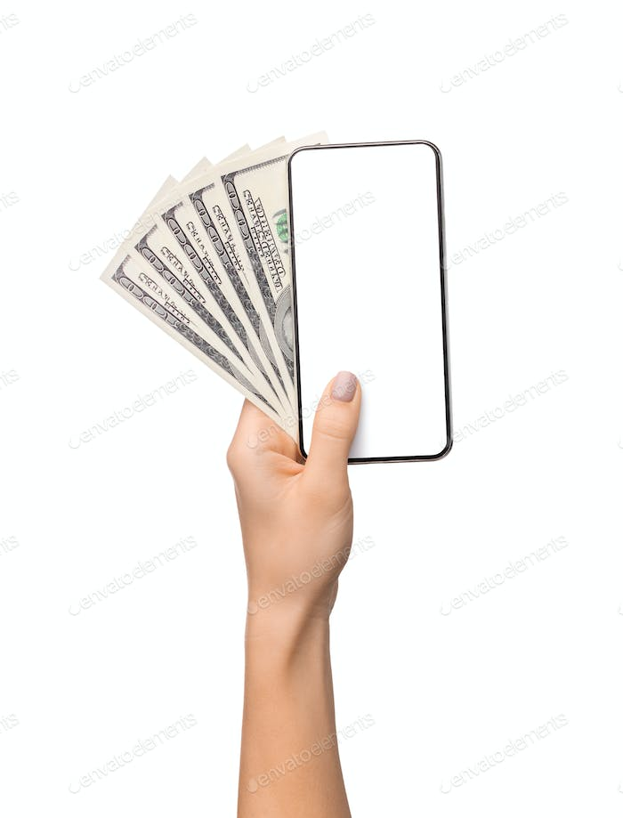 Woman's hand holding blank cellphone and dollar banknotes