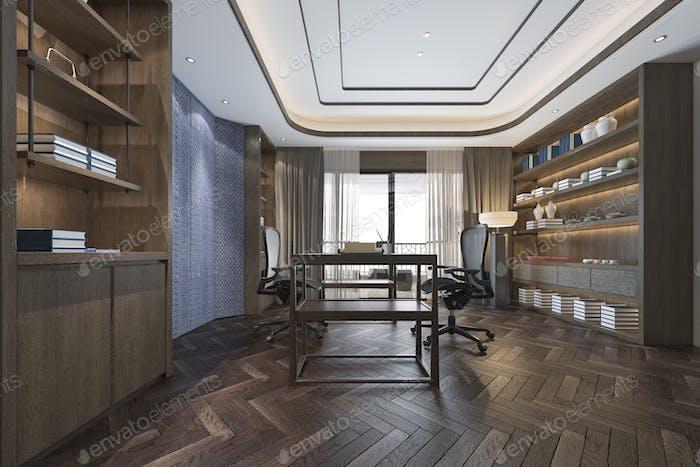 3D Rendering Business-Meetings und Arbeitszimmer im Home-Office chinesischen Stil