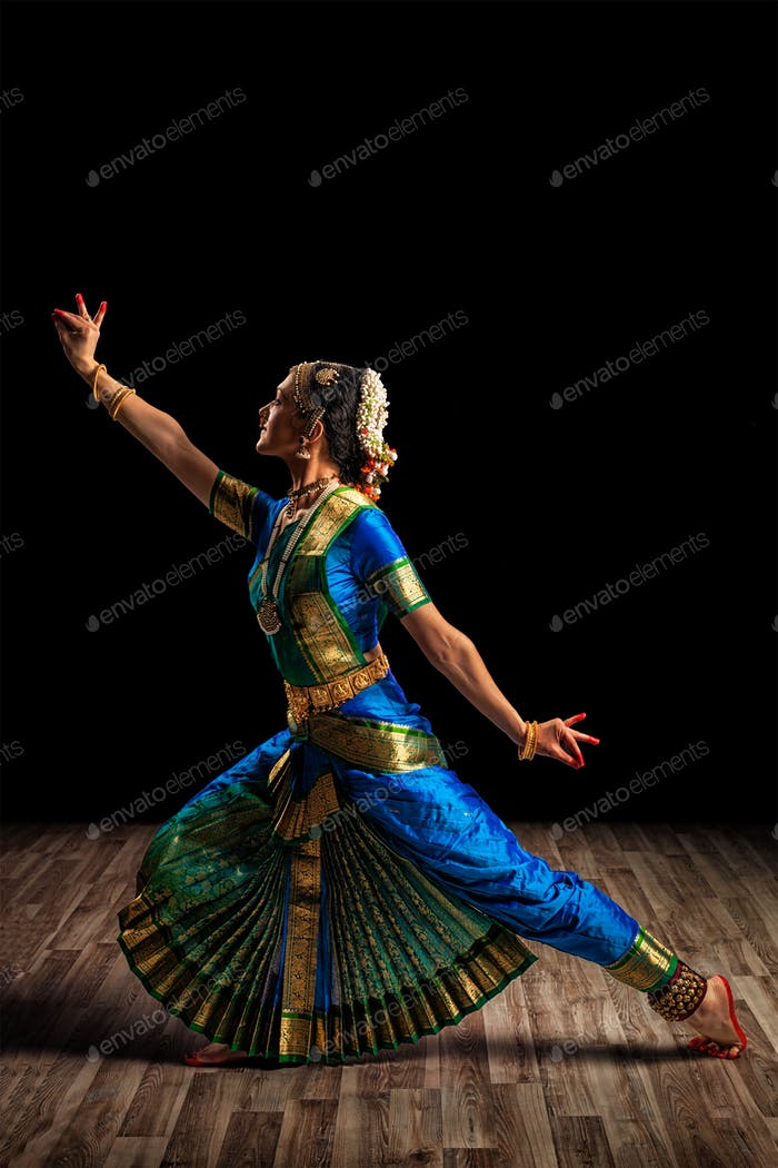 Beautiful woman dancer of Indian classical dance Bharatanatyam