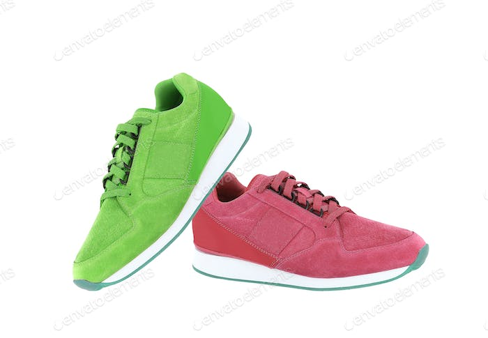 red and green sport shoes isolated on white background