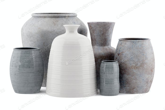 six ceramic vases isolated on white background. 3d illustration