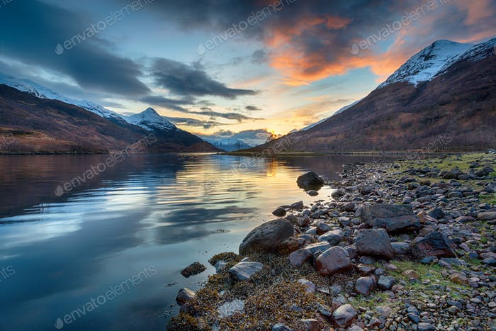 Sunset from the shores of Loch Leven
