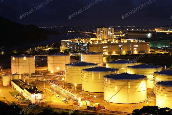 fuel tank at night