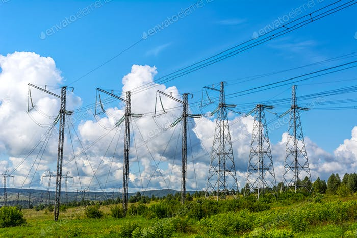 Row of the high voltage transmission towers