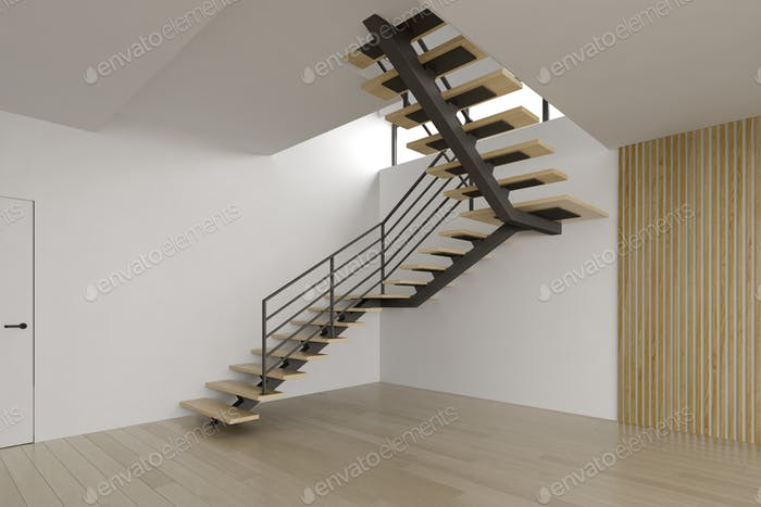 Interior empty room with stair 3D rendering